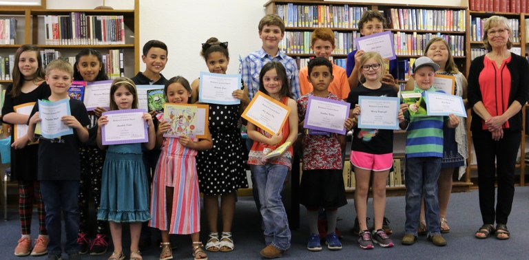 2019 Bookmark winners with Mrs. Patricia Keoughan, art teacher.jpg
