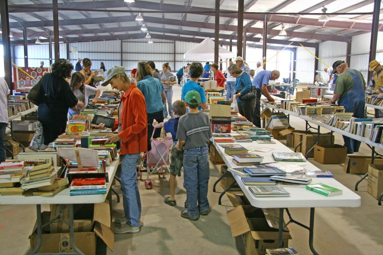 Shoppers look for bargains at FOL book sale, October 2011.JPG